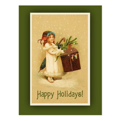 Vintage Happy Holidays Art Card Postcard