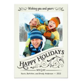 Vintage Happy Holidays Christmas Photo Card