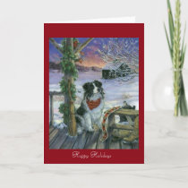 Vintage Happy Holidays Holiday Card