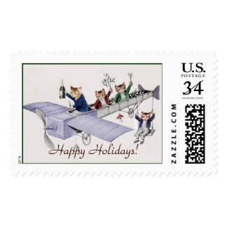 Vintage Happy Holidays Stamp for Cat Lovers