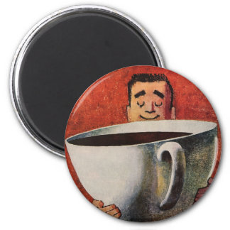 Vintage Happy Man Drinking Giant Cup of Coffee 2 Inch Round Magnet