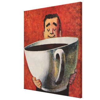 Vintage Happy Man Drinking Giant Cup of Coffee Canvas Print