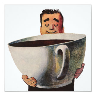 Vintage Happy Man Drinking Giant Cup of Coffee Card
