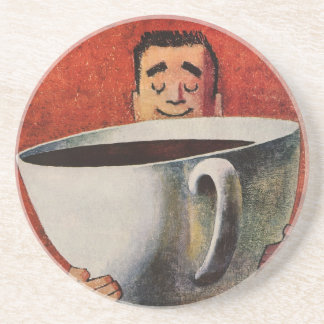 Vintage Happy Man Drinking Giant Cup of Coffee Coaster