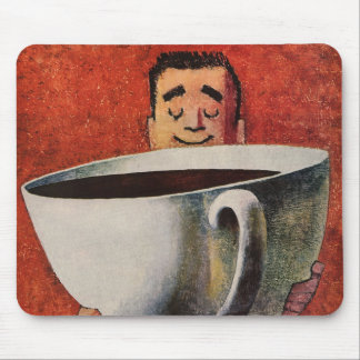 Vintage Happy Man Drinking Giant Cup of Coffee Mouse Pad