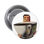 Vintage Happy Man Drinking Giant Cup of Coffee Pinback Button