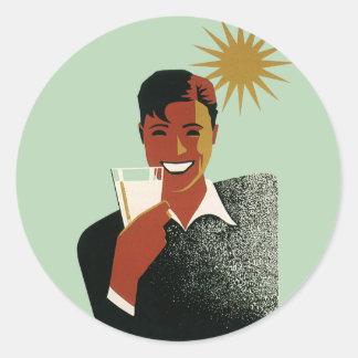 Vintage Happy Man Smiling Drink Cocktails Sunshine Classic Round Sticker