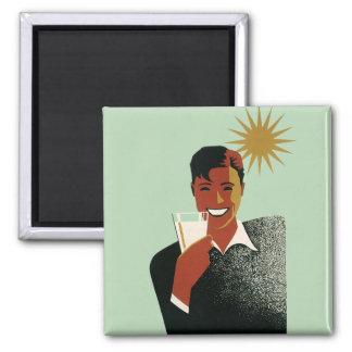 Vintage Happy Man Smiling Drink Cocktails Sunshine Magnet