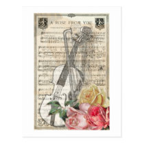 Vintage Happy Mother's Day Violin Music w/ Roses Postcard