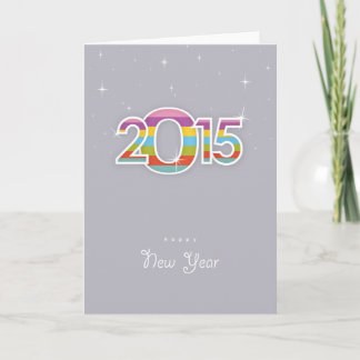 Vintage Happy New Year 2015 Holiday Card