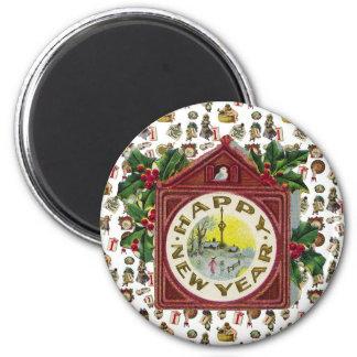 Vintage Happy New Year 2 Inch Round Magnet