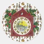 Vintage Happy New Year Classic Round Sticker