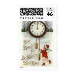 Vintage Happy New Year Greeting Postage Stamp