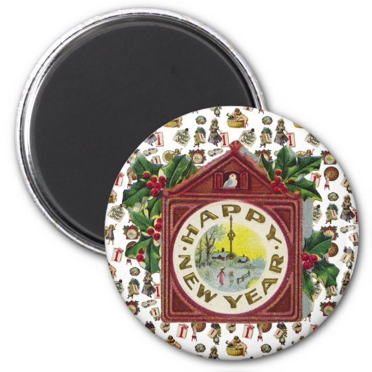 Vintage Happy New Year Magnet