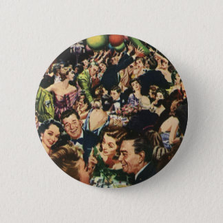 Vintage Happy New Year's Eve Party and Balloons Button