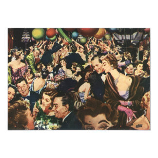 Vintage Happy New Year's Eve Party and Balloons Card