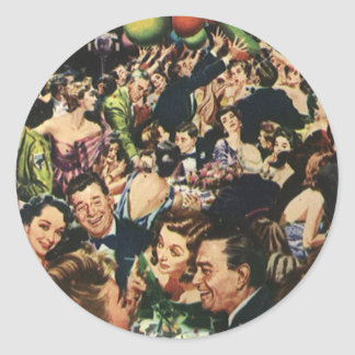 Vintage Happy New Year's Eve Party and Balloons Classic Round Sticker