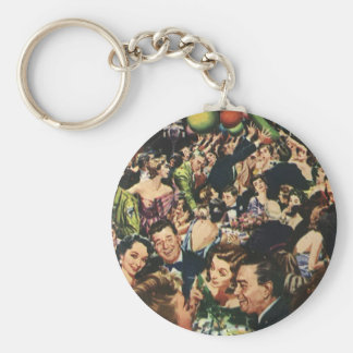 Vintage Happy New Year's Eve Party and Balloons Keychain