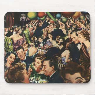 Vintage Happy New Year's Eve Party and Balloons Mouse Pad