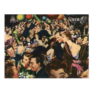 Vintage Happy New Year's Eve Party and Balloons Postcard