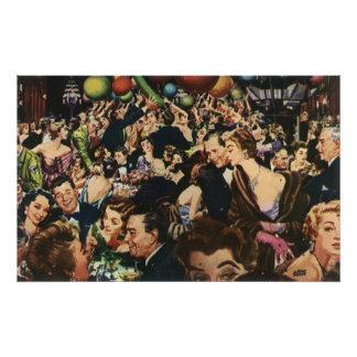 Vintage Happy New Year's Eve Party and Balloons Poster
