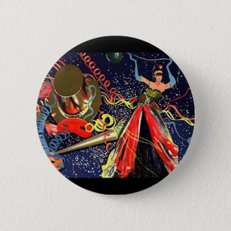 Vintage Happy New Years Eve Party with Confetti Button