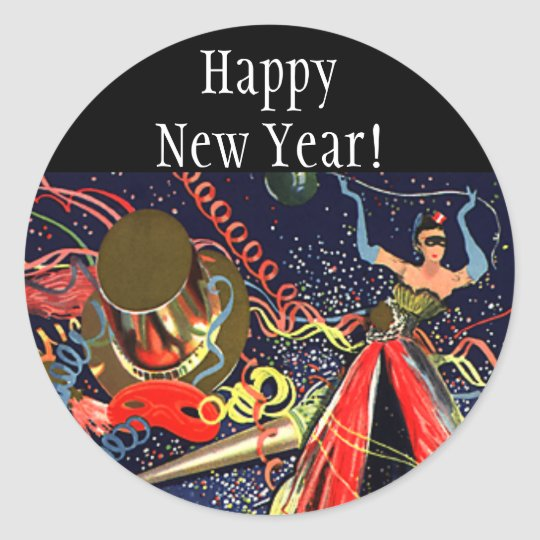Vintage Happy New Years Eve Party with Confetti Classic Round Sticker
