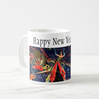 Vintage Happy New Years Eve Party with Confetti Coffee Mug