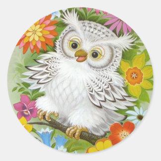 Vintage Happy Owl In Flowers Classic Round Sticker