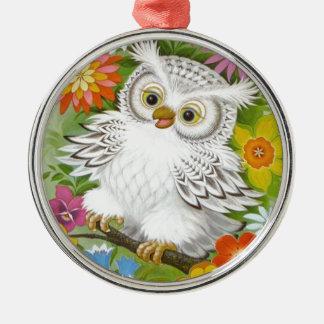 Vintage Happy Owl In Flowers Metal Ornament