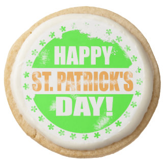 Vintage Happy Saint Patricks Day Round Shortbread Cookie