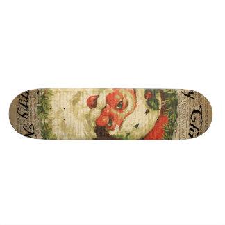 Vintage Happy Santa Christmas Greetings Art Skateboard Deck