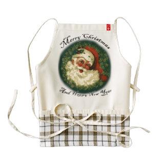 Vintage Happy Santa Christmas Greetings Art Zazzle HEART Apron