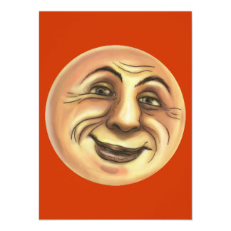 Vintage Happy Smiling Moon 5.5x7.5 Paper Invitation Card