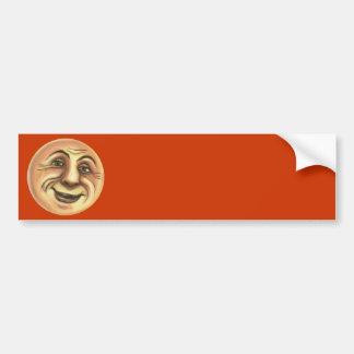 Vintage Happy Smiling Moon Bumper Sticker