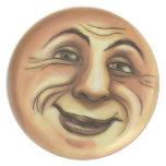 Vintage Happy Smiling Moon Dinner Plate