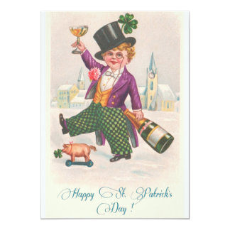 Vintage Happy St. Patrick's Day Champagne Boy Card