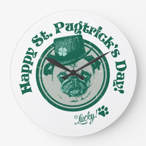 Vintage Happy St. Pugtrick's Day Pug Clock