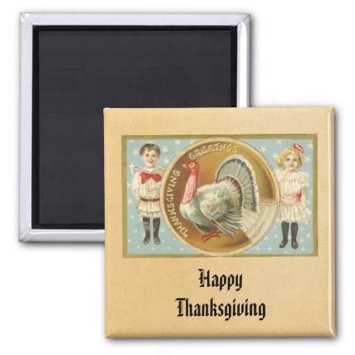 Vintage Happy Thanksgiving Magnet