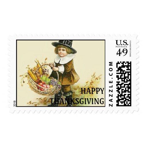 Vintage Happy Thanksgiving Pilgrim Postage Stamp