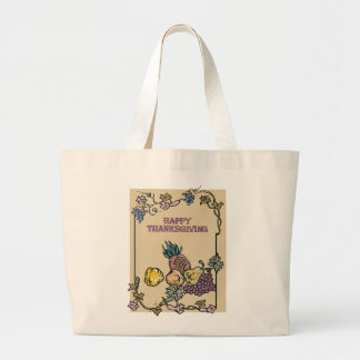 Vintage Happy Thanksgiving Poster Tote Bag