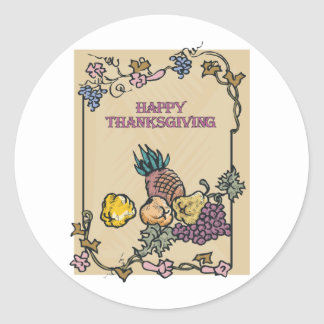 Vintage Happy Thanksgiving Poster Classic Round Sticker