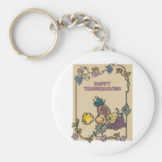 Vintage Happy Thanksgiving Poster Key Chains