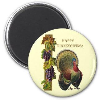 Vintage Happy Thanksgiving Turkey Magnet