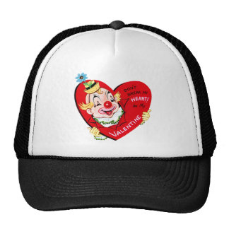 Vintage Happy Valentine Clown with Heart Trucker Hat