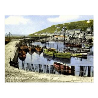 Vintage harbour view, Mousehole Cornwall Postcards