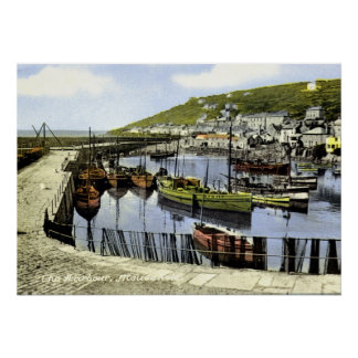 Vintage harbour view, Mousehole Cornwall Poster