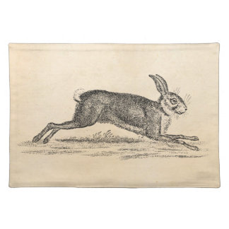 Vintage Hare Bunny Rabbit 1800s Illustration Cloth Placemat