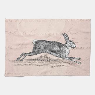 Vintage Hare Bunny Rabbit Illustration -Rabbits Hand Towel