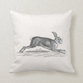 Vintage Hare Bunny Rabbit Illustration - Rabbits Throw Pillows